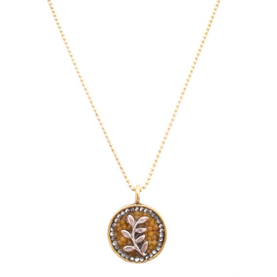 """""""On The Vine"""" Gold & Guilded Silver Mustard Seed Necklace"""