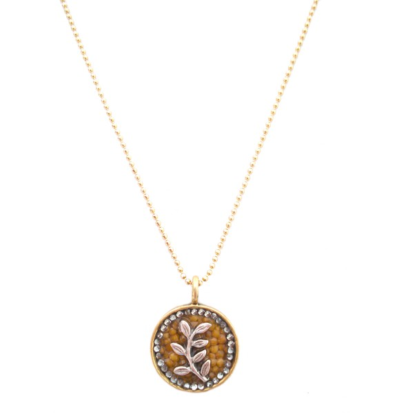 On the vine gold guilded silver mustard seed necklace circle leaf branch v2 aloadofball Choice Image
