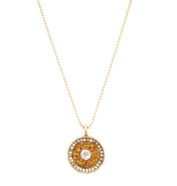 Goodness glows gold circle white crystal mustard seed necklace goodness glows gold circle white crystal mustard seed necklace aloadofball Image collections