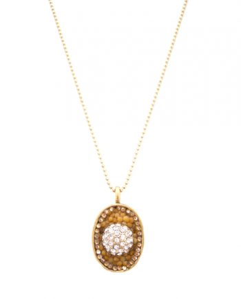 """""""Glow"""" Gold & Crystal Encrusted Mustard Seed Necklace"""