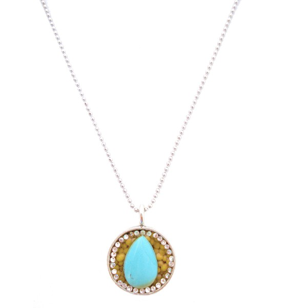 Turquoise delight silver teardrop mustard seed necklace circle blue stone aloadofball Image collections