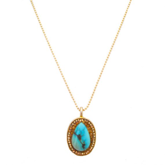 """""""Turquoise Delight"""" Gold Teardrop Mustard Seed Necklace"""