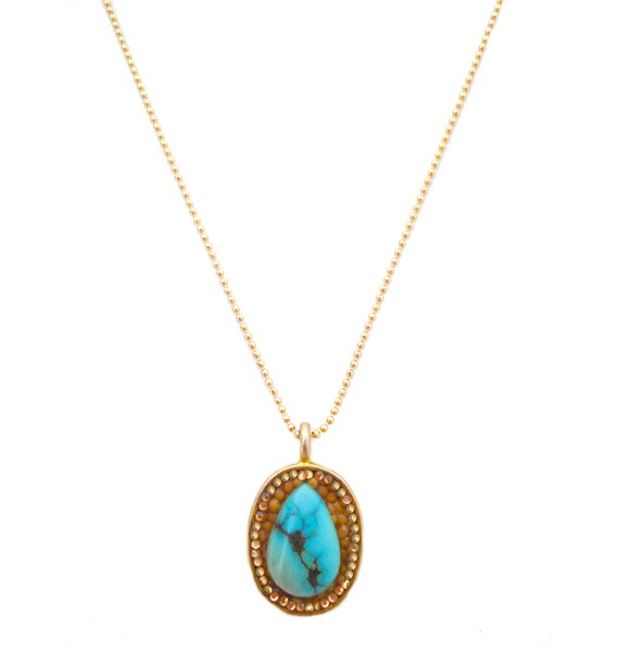 Turquoise delight gold teardrop mustard seed necklace circle cracked stone audiocablefo