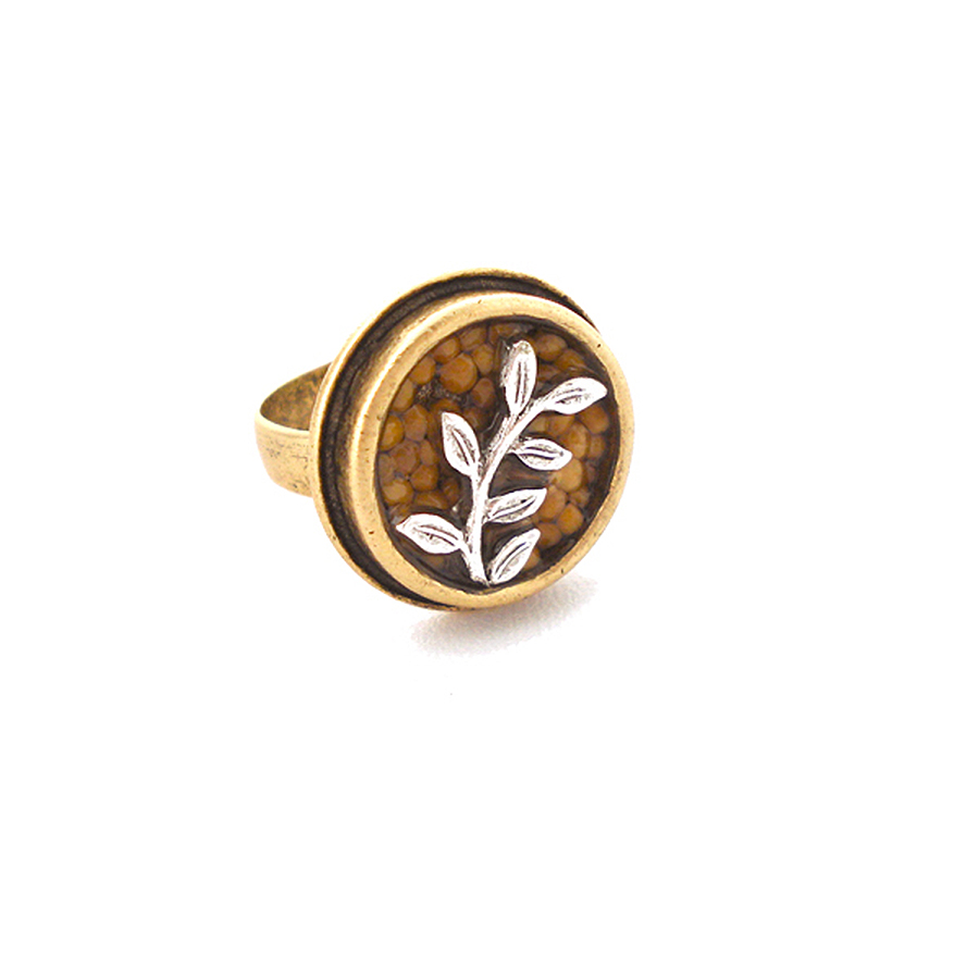 "€�on The Vine"" Gold Circle Guilded Silver Vine Mustard Seed Ring"