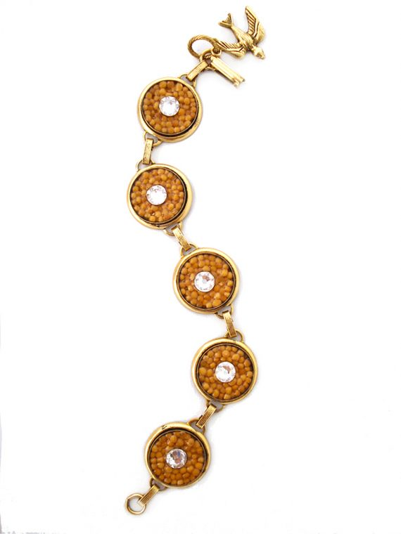 """""""Goodness Glows"""" Large Gold Circle Links with White Crystal Mustard Seed Bracelet"""