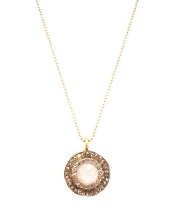 Necklaces mustard seed jewelry be still and know vintage cream stone round pendant aloadofball Image collections