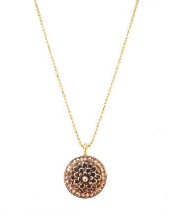 """Flowering Heart"" Gold Flower Centerpiece Round Gold Pendant"