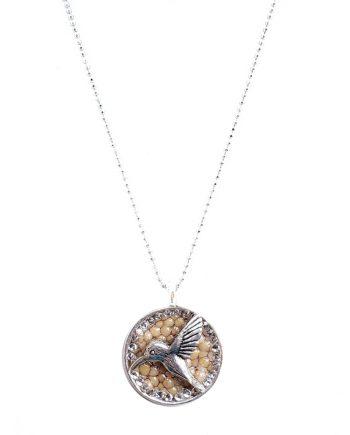 """Sweet Nectar of Life"" Silver Hummingbird Round Pendant"